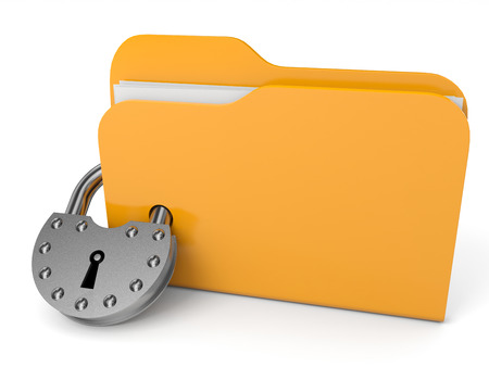 Abstract computer folder with padlock. 3D illustration. illustration