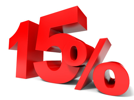 Red fifteen percent off. Discount 15%. 3D illustration.