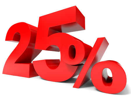 Red twenty five percent off. Discount 25%. 3D illustration.