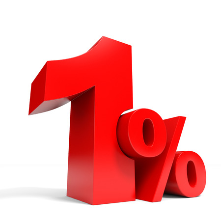 Red one percent off. Discount 1%. 3D illustration. Stock Photo