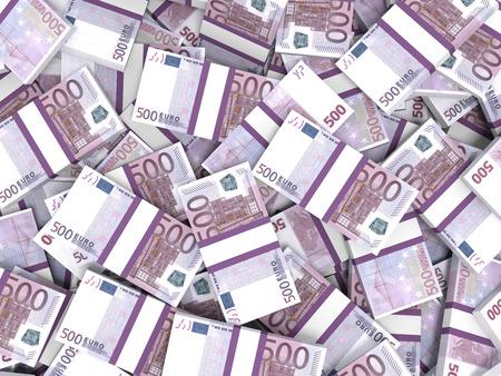 Five hundred euro banknotes background. 3D illustration.