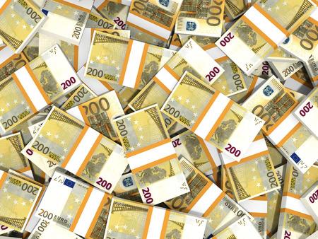 Two hundred euro banknotes background. 3D illustration. illustration