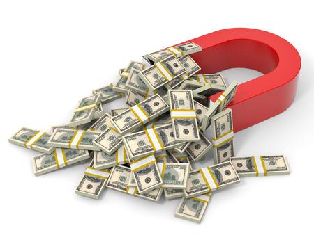 Magneet op witte achtergrond trekt geld dollars. 3D-afbeelding.