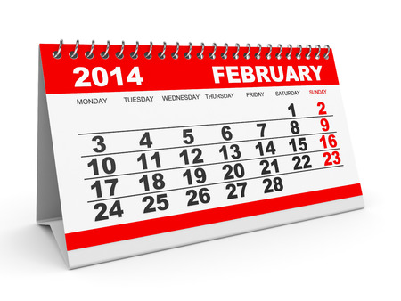 Calendar February 2014 on white background. 3D illustration. illustration