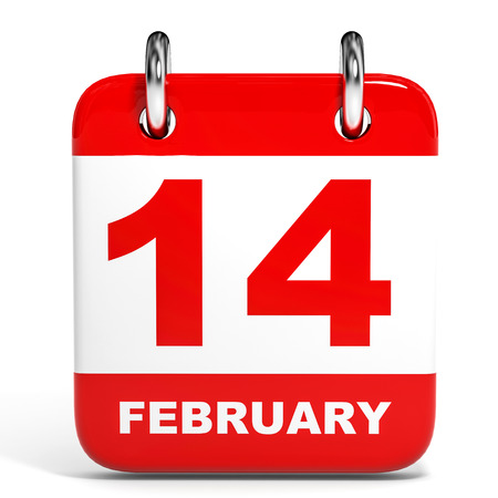 Calendar on white background. 14 February. 3D illustration. illustration