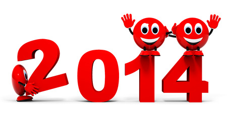 Happy new year 2014 concept on white background. 3D illustration. illustration