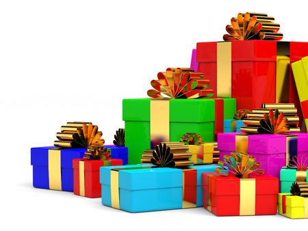 Heap of christmas gift boxes with bow. 3D illustration. illustration