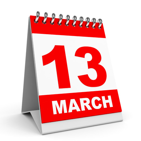 thirteen: Calendar on white background. 13 March. 3D illustration. Stock Photo