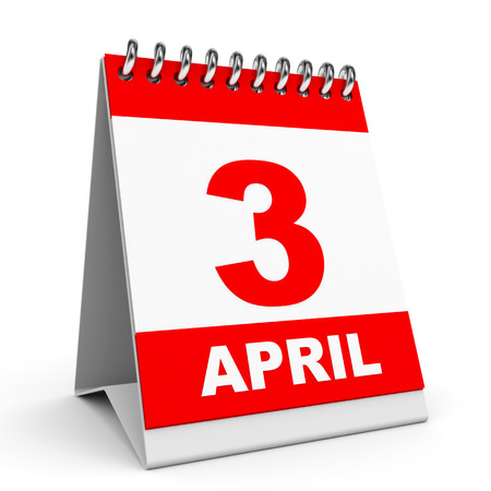 Calendar on white background. 3 April. 3D illustration. illustration