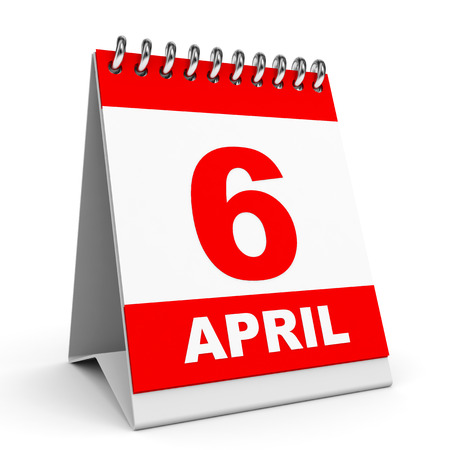 Calendar on white background. 6 April. 3D illustration. illustration