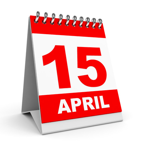 Calendar on white background. 15 April. 3D illustration. illustration