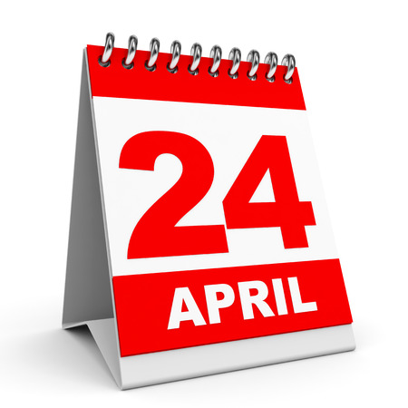 Calendar on white background. 24 April. 3D illustration. illustration