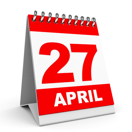 Calendar on white background. 27 April. 3D illustration. illustration