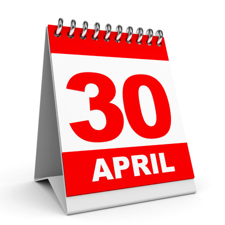 Calendar on white background. 30 April. 3D illustration. illustration