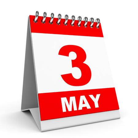 Calendar on white background. 3 May. 3D illustration. illustration