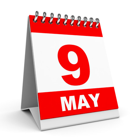 9th: Calendar on white background. 9 May. 3D illustration.