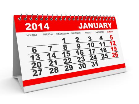 Calendar January 2014 on white background. 3D illustration. illustration