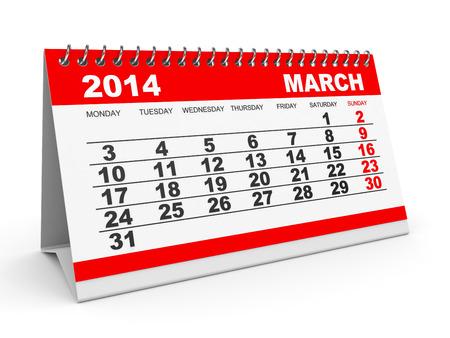 Calendar March 2014 on white background. 3D illustration. illustration