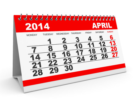 Calendar April 2014 on white background. 3D illustration. illustration