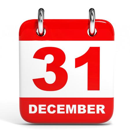 Calendar on white background. 31 December. 3D illustration. illustration