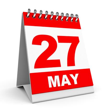 Calendar on white background. 27 May. 3D illustration. illustration