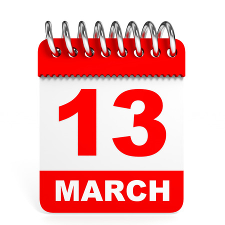 13th: Calendar on white background. 13 March. 3D illustration. Stock Photo