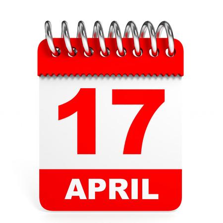 seventeen: Calendar on white background. 17 April. 3D illustration.