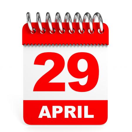 twenty ninth: Calendar on white background. 29 April. 3D illustration.