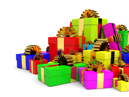 Heap of christmas gift boxes with bow. 3D illustration. Stock Photo