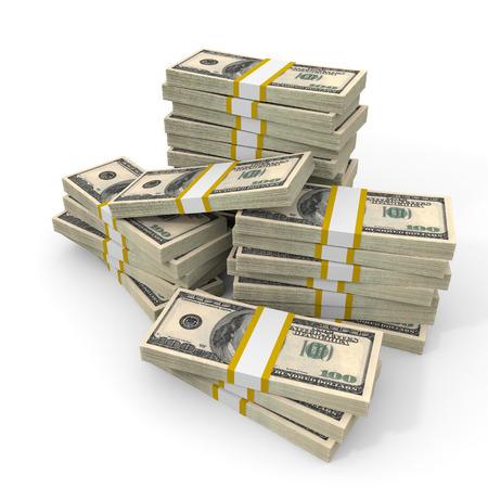 cash money: Las pilas de Cien D�lares Americanos. Ilustraci�n 3D. Foto de archivo