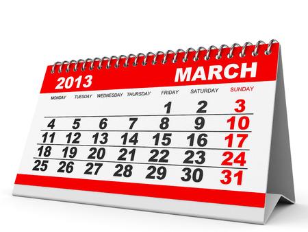 Calendar March 2013 on white background. 3D illustration. illustration