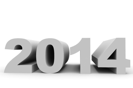 year 3d: 2014 New Year. 3D illustration. Stock Photo