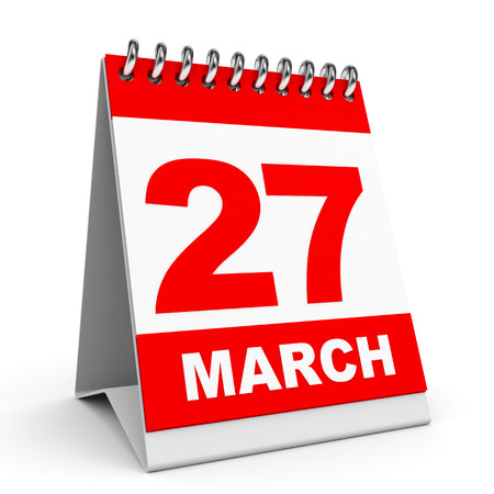 Calendar on white background. 27 March. 3D illustration. illustration