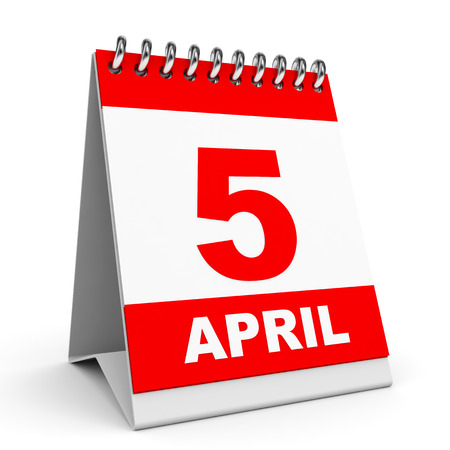 Calendar on white background. 5 April. 3D illustration. illustration