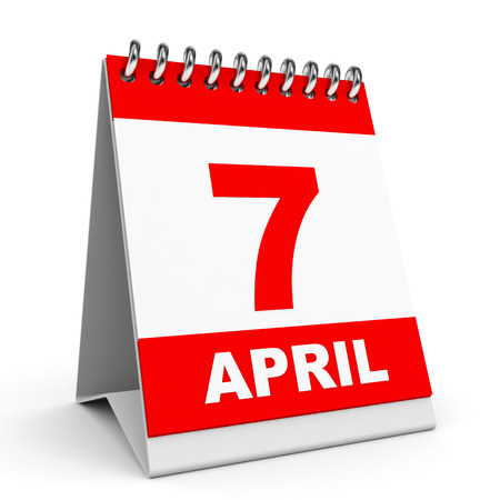 Calendar on white background. 7 April. 3D illustration. illustration