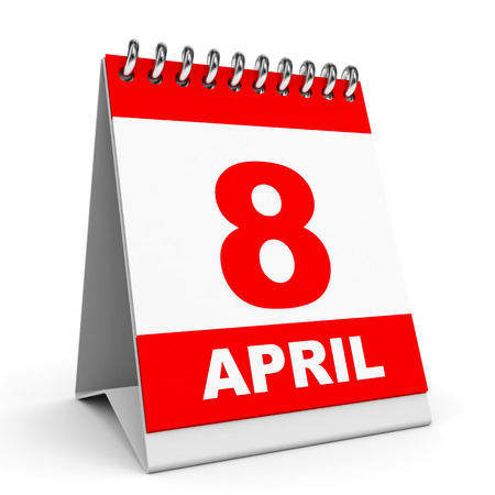 Calendar on white background. 8 April. 3D illustration. illustration