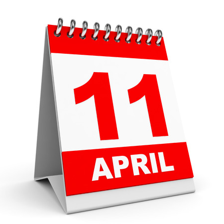 Calendar on white background. 11 April. 3D illustration. illustration