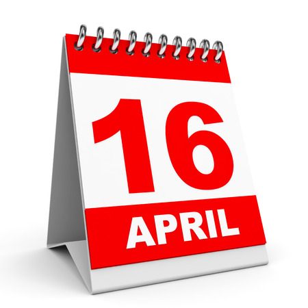 Calendar on white background. 16 April. 3D illustration. illustration