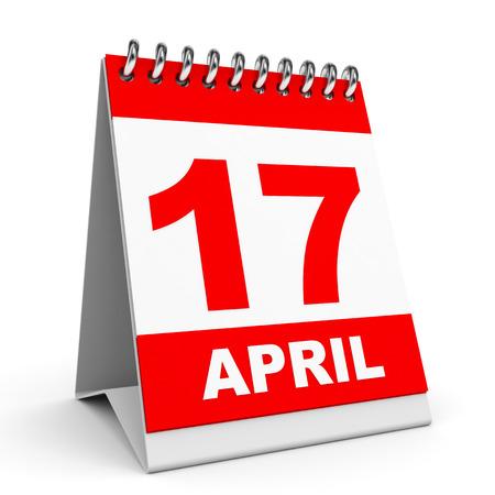 Calendar on white background. 17 April. 3D illustration.