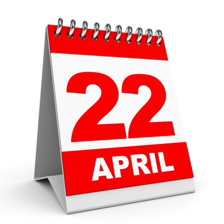 Calendar on white background. 22 April. 3D illustration. illustration