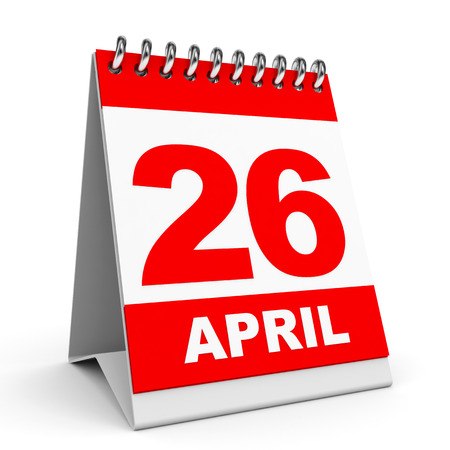 Calendar on white background. 26 April. 3D illustration. illustration