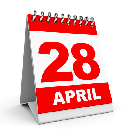 Calendar on white background. 28 April. 3D illustration. illustration