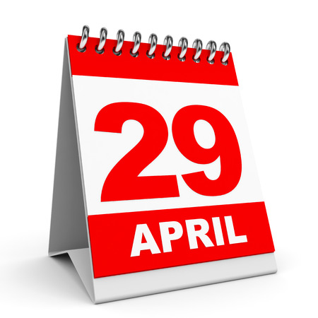 Calendar on white background. 29 April. 3D illustration. illustration