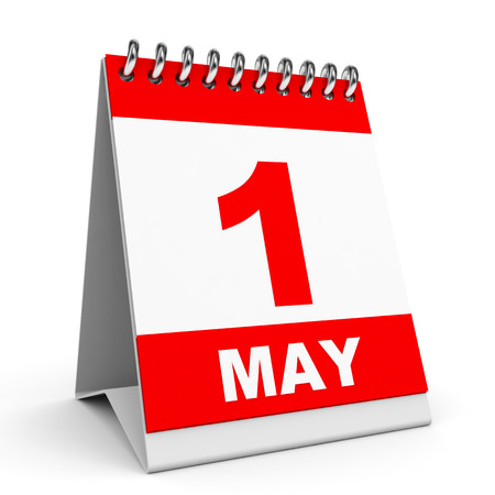 Calendar on white background. 1 May. 3D illustration. Stock Photo