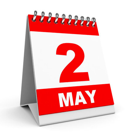 Calendar on white background. 2 May. 3D illustration. illustration