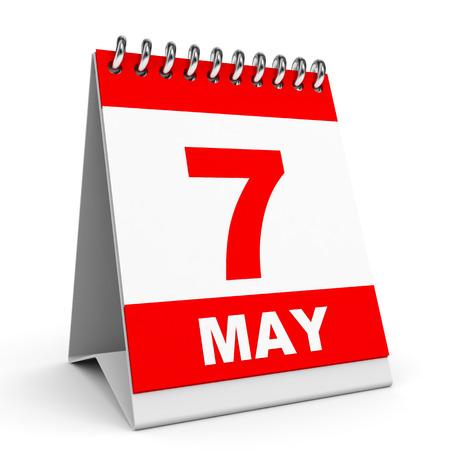 Calendar on white background. 7 May. 3D illustration.