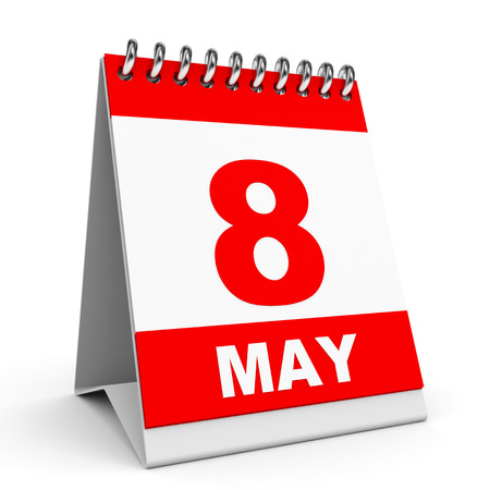 Calendar on white background.  8 May. 3D illustration.