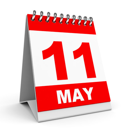 11 number: Calendar on white background. 11 May. 3D illustration.