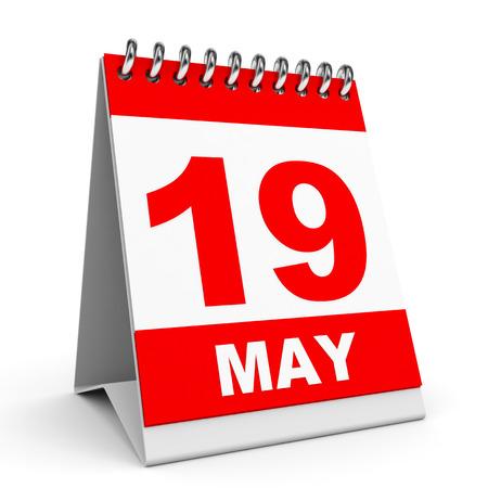 Calendar on white background. 19 May. 3D illustration. illustration