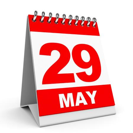 Calendar on white background. 29 May. 3D illustration. 版權商用圖片